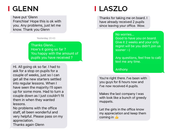 Glenn and Laszlo Text Messages