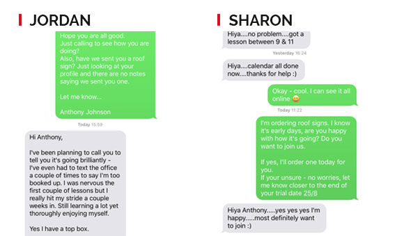 Sharon and Jordan Text Messages