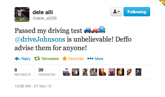 Dele Alli tweet for driveJohnson's