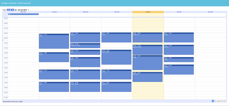 35 Hour Working Week Calendar