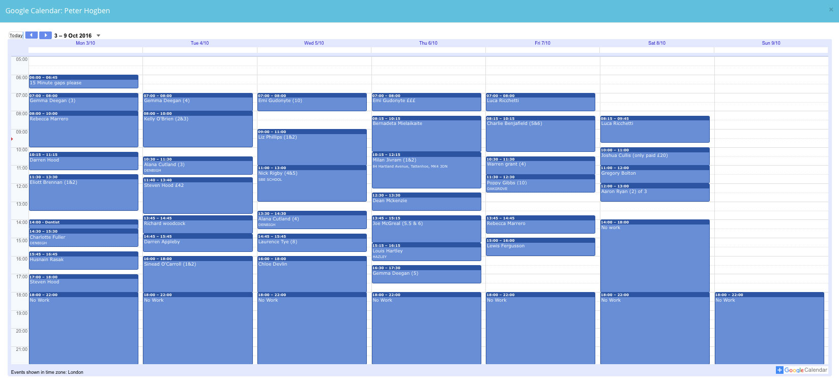 51 Hour Working Week Calendar