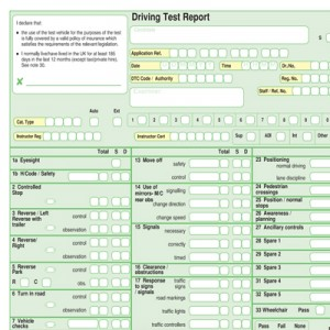 Driving Test Marking Sheet