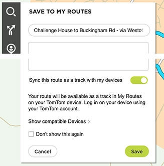 Saving and Syncing Route