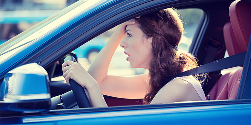 stressed woman driving