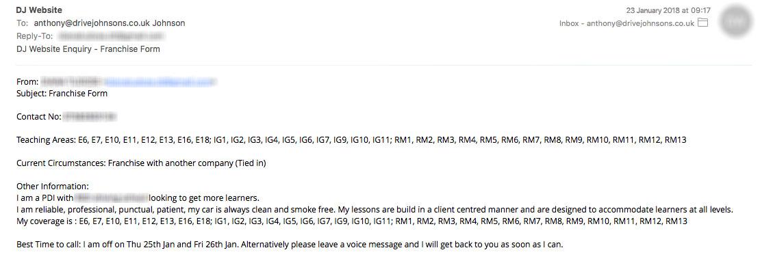 Enquiry Email Screenshot