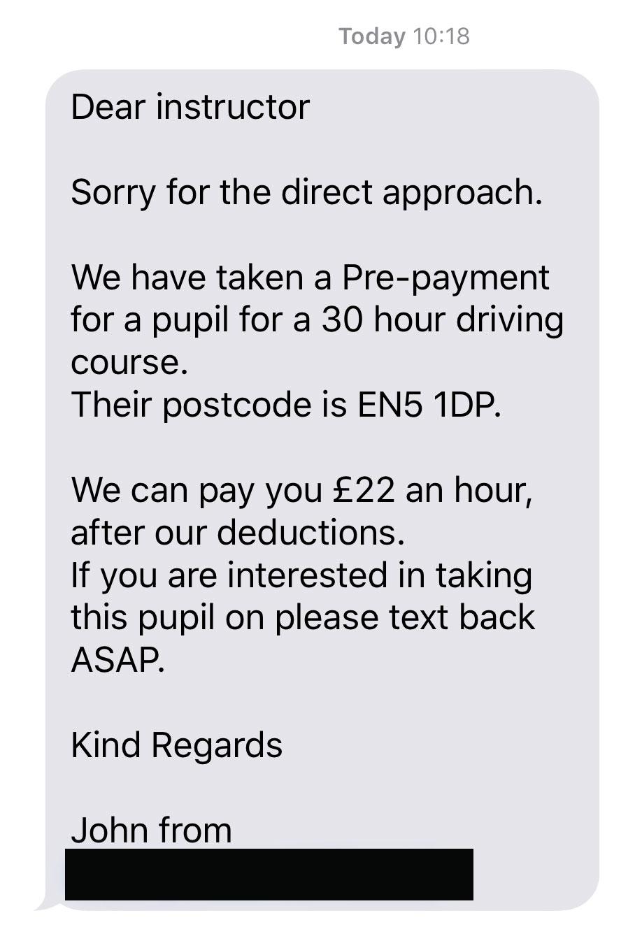 Booking Agent SMS Screenshot