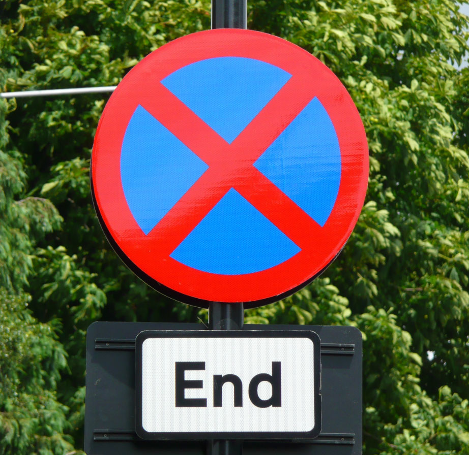 End of clearway sign
