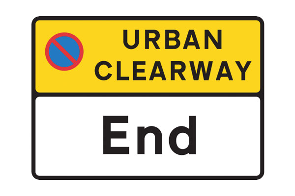 Sign showing the end of an Urban Clearway