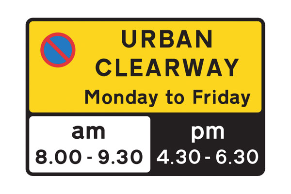 Start of the Urban Clearway